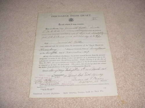 WORLD WAR 1 US ARMY DISCHARGE FROM DRAFT PAPER  HARRISBURG,PA. MARCH 5,1918