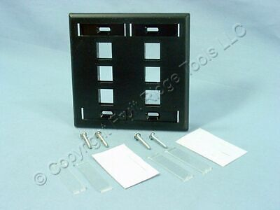 Leviton Black Quickport 6-Port ID Window Flush Wallplate 2-Gang Cover 42080-6EP Wall Plate 2 Id Windows