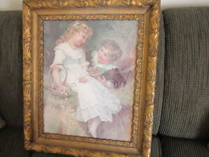 Antique Gold Frame with Picture of a Boy & Girl