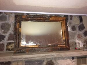 """LARGE, Antique Gorgeous, Heavy, Solid Wood """"Rustic"""" Look Mirror"""
