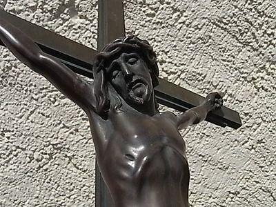 Bronze Grabkreuz Jesus Christus 61 cm Kreuzigung Kruzifix Wegkreuz Grabstein