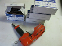Air pneumatic box carton stapler and 3 boxes of staples$60