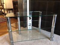 Lovely glass and chrome TV stand as new.