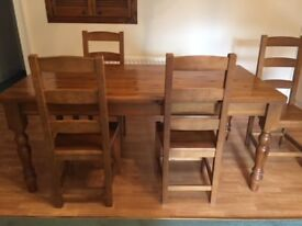 Large Antique Pine Dining Table and 4 Chairs