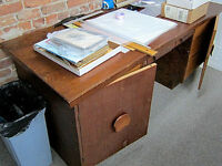 TWO WOOD WORK TABLES WITH MULTI DRAWERS