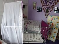 """Baby Relax """"Mayfair"""" Chrome Cot with Padded Ends and a Drape"""