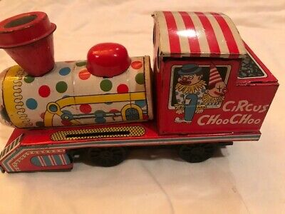 Vintage Tin Circus Choo Choo Clown Face Friction Train-Made in Japan-Daiya