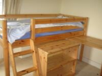 Cabin Bed with Desk and Bookcase