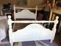 "Painted pine 4'6"" double bed"