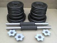 Metal Dumbbell barbell Weights and Bars 62.5 lb's 28 kg approx - Heathrow
