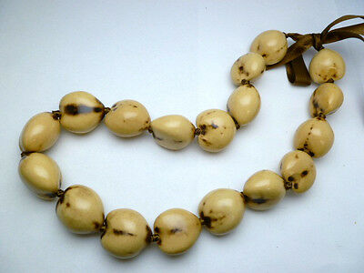 Hawaii Wedding/Graduation Kukui Nut Lei Luau Hula Jewelry Necklace~31031 (QTY 2)