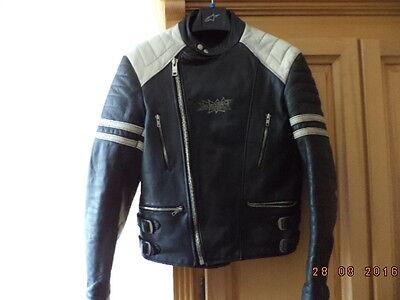 Vintage Motorradjacke Lederjacke Bikerjacke schwarz  Gr.54 (eher 50)