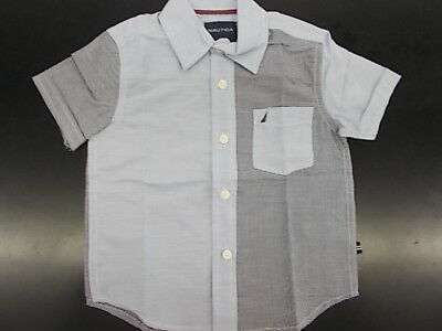 Toddler Boys Nautica $35.50 Retro Blue Short Sleeve Button Down Shirt Size 2T-4T
