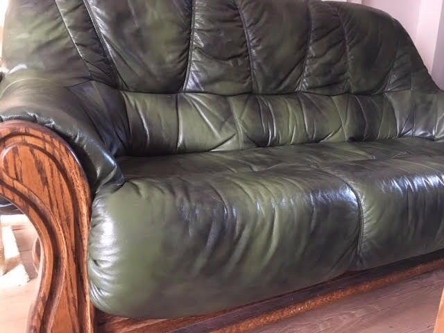 Retro Dark Green Leather and Dark Wood 3 Seater Sofa