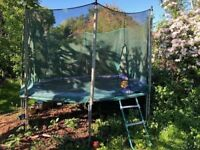 """11 - 12 foot octagonal """"jump for fun"""" trampoline with safety net, ladder and cover,"""