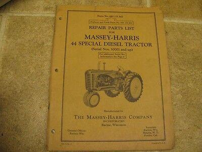 Massey Harris 44 Special Diesel Tractor Repair Parts List Manual 5-54