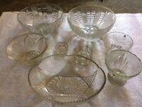 Vintage glass bowls and dishes