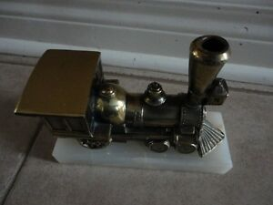 Solid brass marble base train decorative statue accent London Ontario image 3