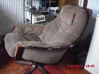 Chair, swivel recliner fabric cover, reid make