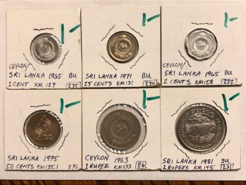 Lot of 6 - Ceylon - 1, 2, 25, 50 cents, 1 and 2 rupees