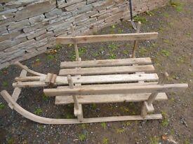 Antique Log/Wood Sled Cart