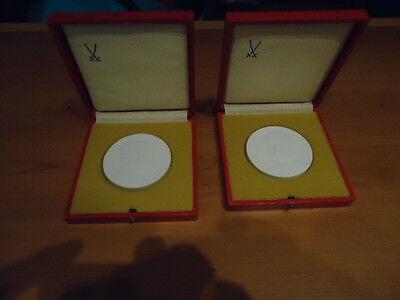 2 Medaillien DDR, Karl Landsteiner - Henry Dunant - Porzellan-Manufaktur Meissen