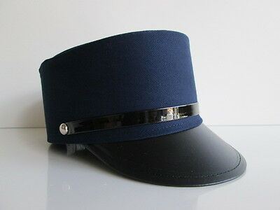ADULT NAVY BLUE TRAIN CONDUCTOR HAT GENDARME OFFICER FRENCH POLICE COSTUME CAP - Navy Blue Costume