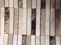 CLEARANCE Cream and brown glossy rectangular mosaic tiles for sale  Lincolnshire