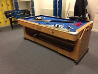 Debut Pool Table & Air Hockey Table (6 x 3) + Balls, Cues, Triangle, Pucks & Brush