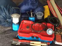 Camping Gear Set - stoves, lantern, sleeping bags