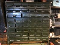 VINTAGE INDUSTRIAL METAL 54 DRAWER ENGINEERS CABINET STORAGE