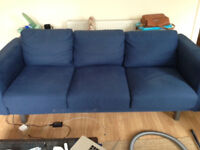 3 seat blue Norsberg IKEA fabric couch/sofa. 1.5 years old