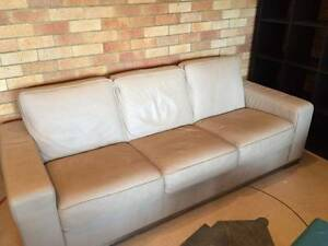 King Leather 3 piece cream suite Castlecrag Willoughby Area Preview