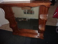 Very sturdy wooden top for dresser with mirror and small shelves