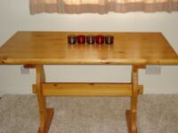 TABLE, SOLID PINE, BENCH STYLE