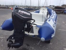 Avon Adventure 400 RIB with trailer. Evinrude 40hp outboard engine.
