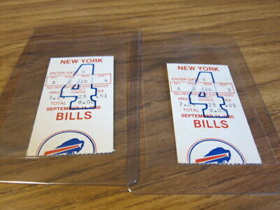 Lot of 2 - 1980 Ticket Stubs Buffalo Bills vs. New York Jets 09/14/1980