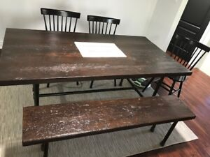 Industrial style DINING ROOM TABLE AND BENCH.
