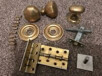 Victorian Brass door furniture Front Door handles, brass plates, hinges (Worth £60 new)