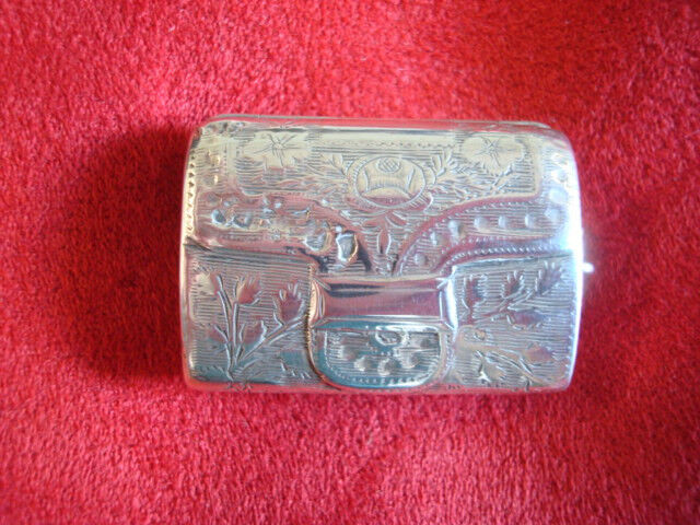 English Sterling Vinaigrette Engraved Satchel Form Birmingham 1790 (#2123)