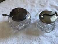 Vintage Glass Sugar Bowl with integrated sugar cube claws and glass preserve pot with lid and spoon.