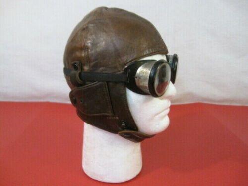 WWI British RFC Royal Flying Corps - Leather Flying Helmet w/Goggles - Original