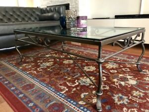 Iron/glass coffee table, reduced prices$135+ 2 end tables $25 ea