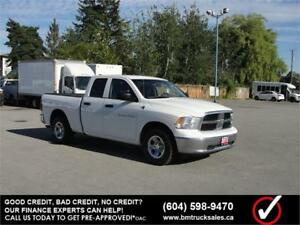 2012 DODGE RAM 1500 ST QUAD CAB SHORT BOX 4X4 ONLY 58,000KM