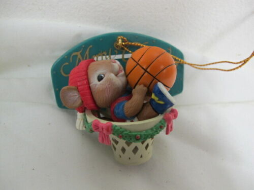 VINTAGE 1994  LUSTRE FAME CHRISTMAS  ORNAMENT MOUSE IN BASKETBALL