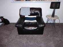 Black Leather lounge & 2 Arm Chairs Kotara Newcastle Area Preview