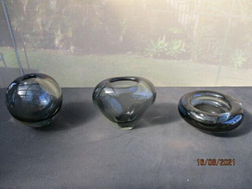 Set of Three  Vintage Per Lutken Smokey  Glass Items for  Holmegaard 15731/34/38