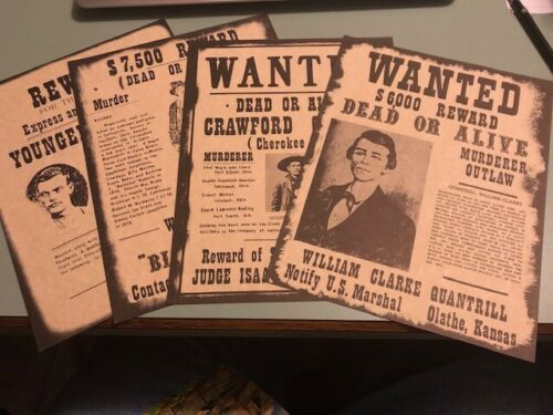4 Western Wanted Posters Decor Billy Kid, Quantrill, Youngers, Crawford Goldsby