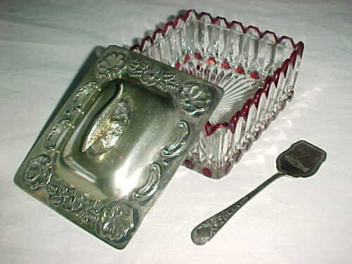 ANTIQUE SHEFFIELD VICTORIAN EDWARDIAN GLASS SILVERPLATE SARDINE BOX & SPOON NICE