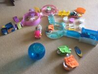 Large collection of zhu zhu hamster toys and accessories